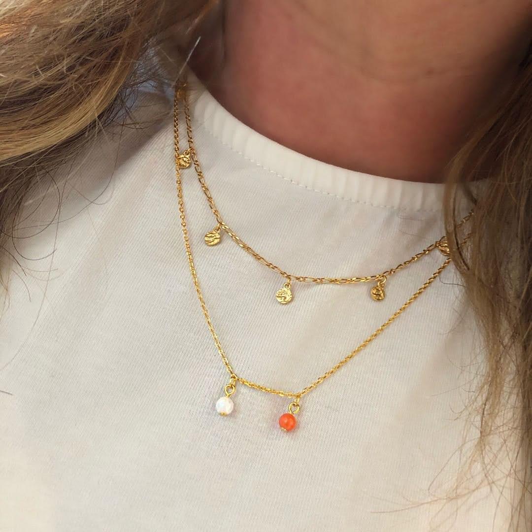 Alma Gemstone necklace från A-Hjort i Förgyllt-Silver Sterling 925|Blank