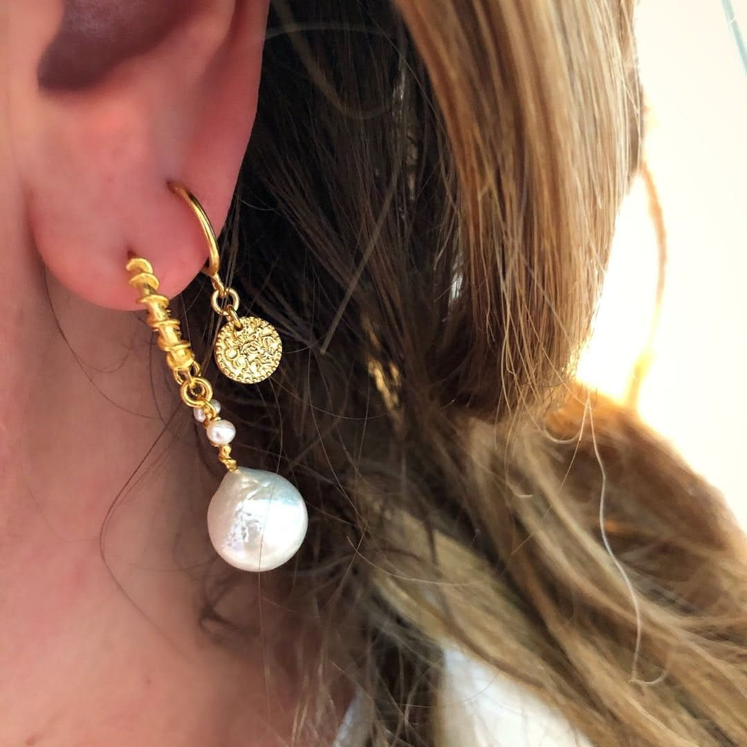 Nellie White earrings fra Maanesten i Forgyldt-Sølv Sterling 925