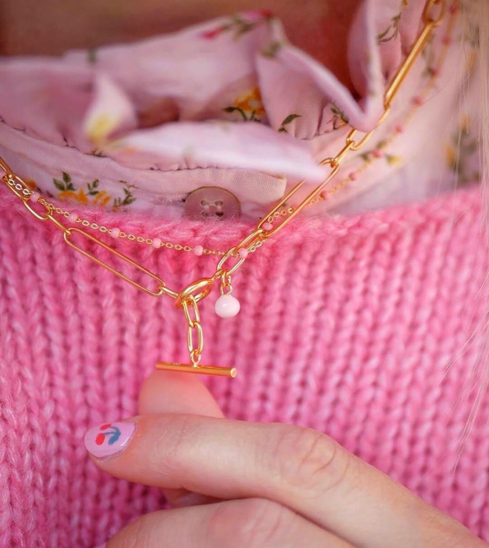 Lola necklace Light Pink fra Enamel Copenhagen i Forgylt-Sølv Sterling 925