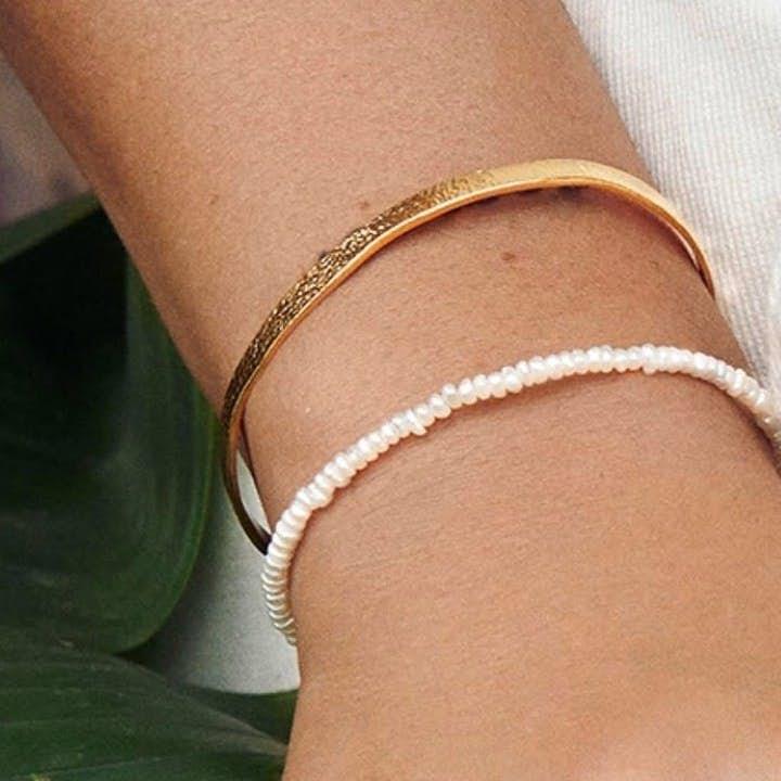 Wide alliance bracelet von Pernille Corydon in Vergoldet-Silber Sterling 925|Matt