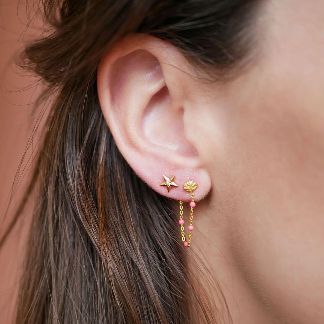 Lola earrings Light Pink von Enamel Copenhagen in Vergoldet-Silber Sterling 925