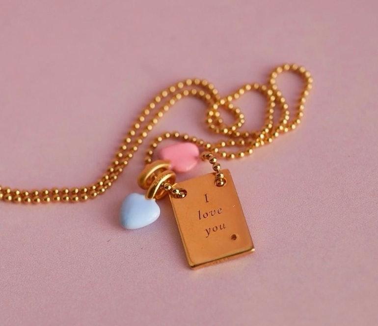 Enamel Heart charm Blue