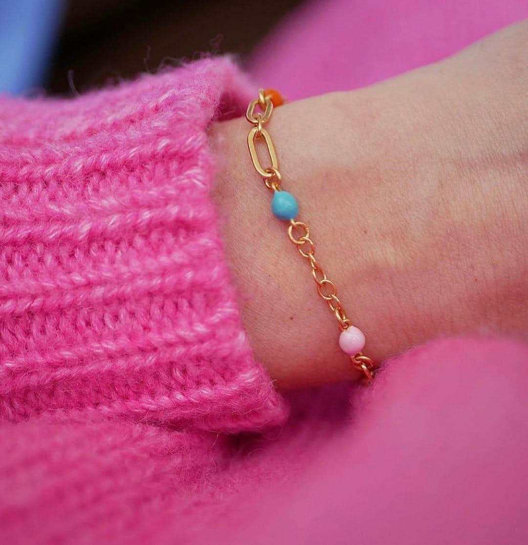 Vigga bracelet von Enamel Copenhagen in Vergoldet-Silber Sterling 925|Blank