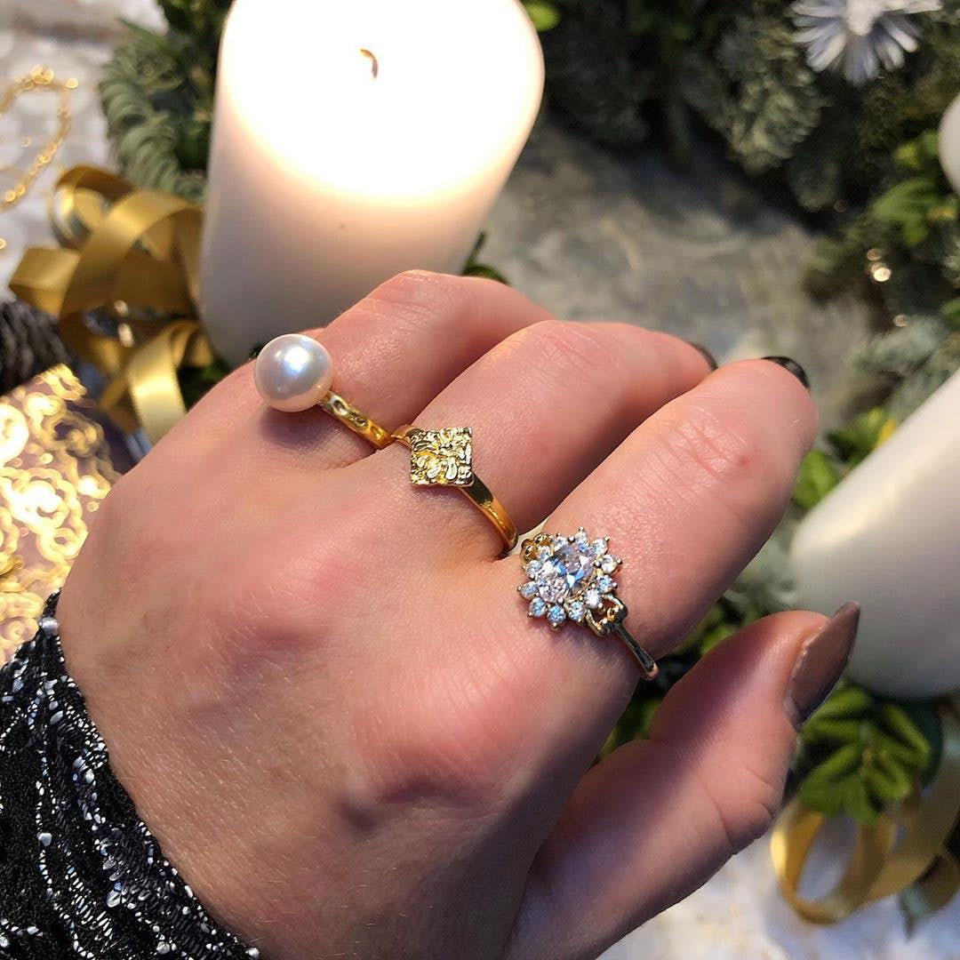Alma ring fra A-Hjort i Forgylt-Sølv Sterling 925