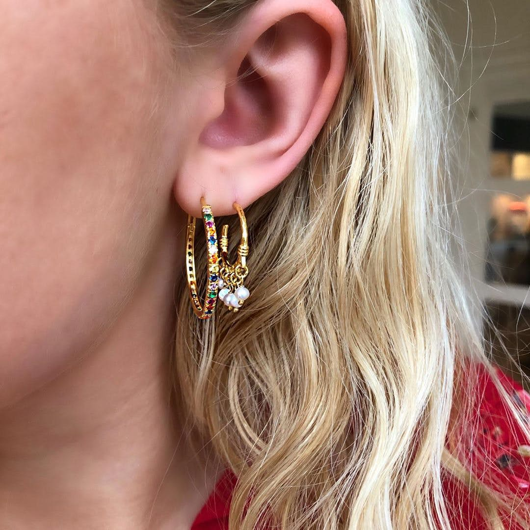 Nubia Large Colour creols from Maanesten in Goldplated-Silver Sterling 925
