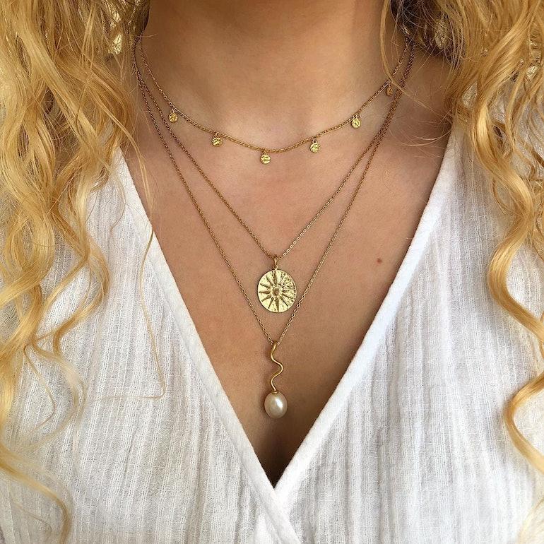 Bay necklace fra Pernille Corydon i Forgyldt-Sølv Sterling 925| Matt,Blank