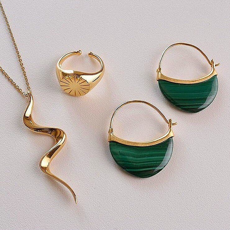 Small Malachite earrings von Pernille Corydon in Silber Sterling 925