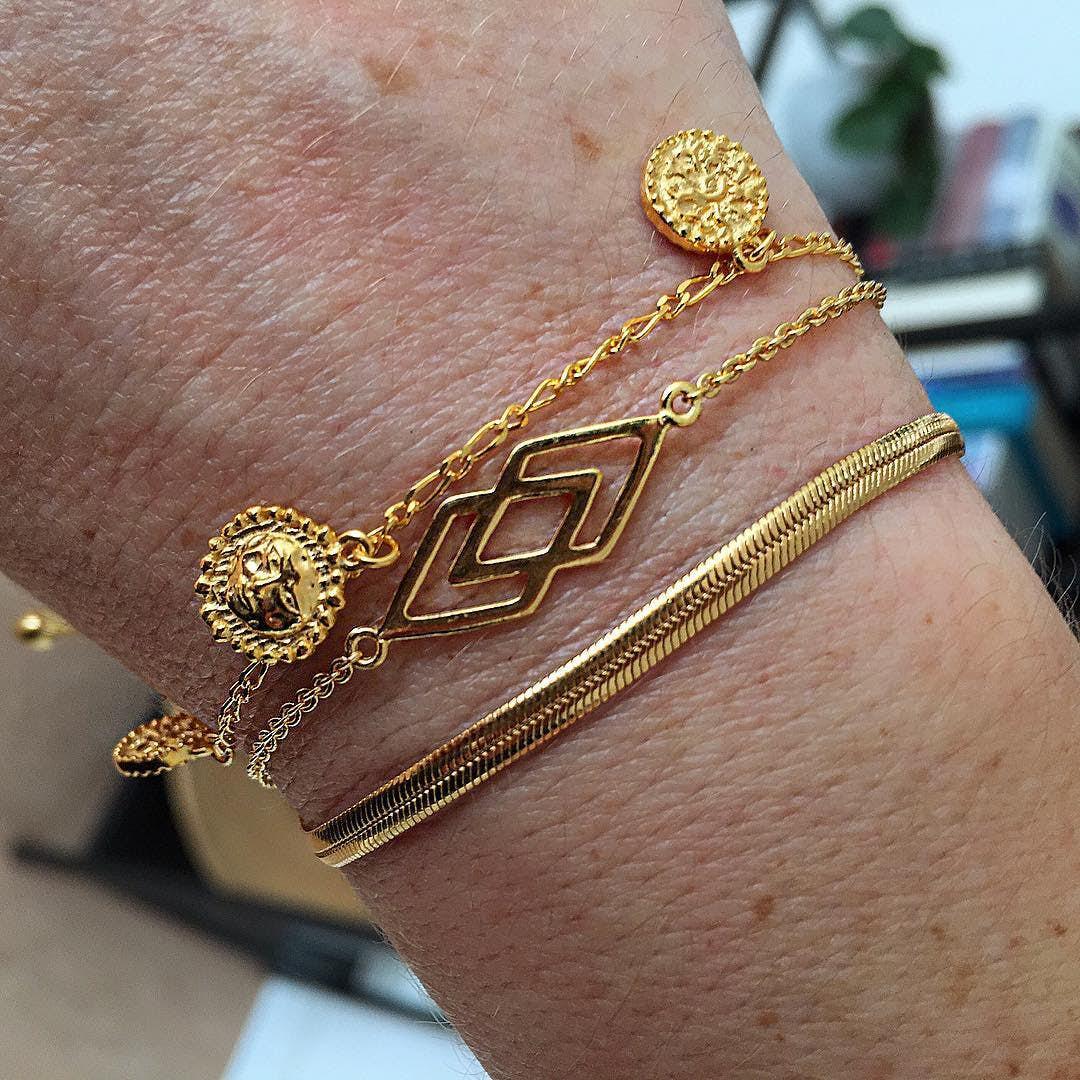 DNA bracelet fra Izabel Camille i Forgyldt-Sølv Sterling 925