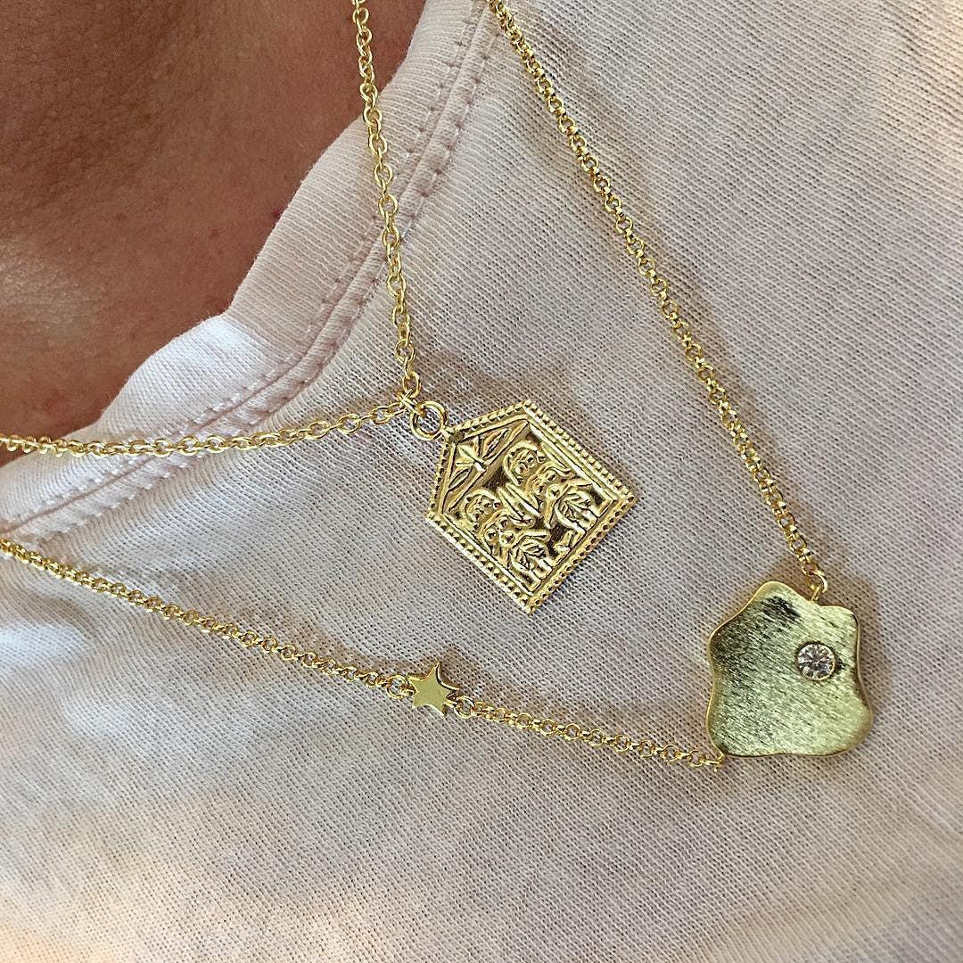 Anton Necklace från A-Hjort i Förgyllt-Silver Sterling 925| Matt,Blank