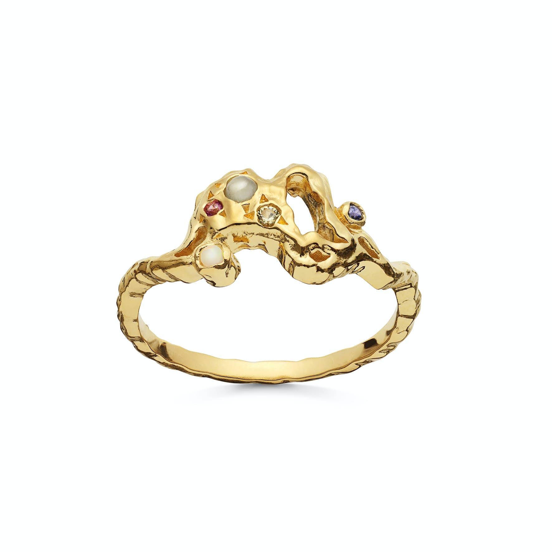 Lulu Ring fra Maanesten i Forgylt-Sølv Sterling 925