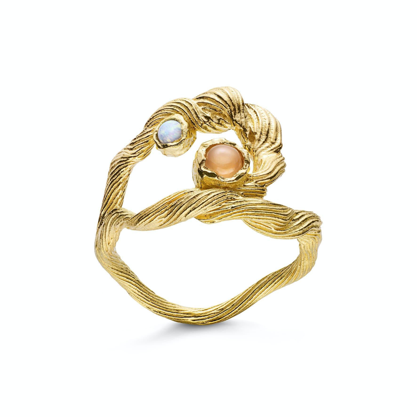 Curl Ring fra Maanesten i Forgyldt-Sølv Sterling 925