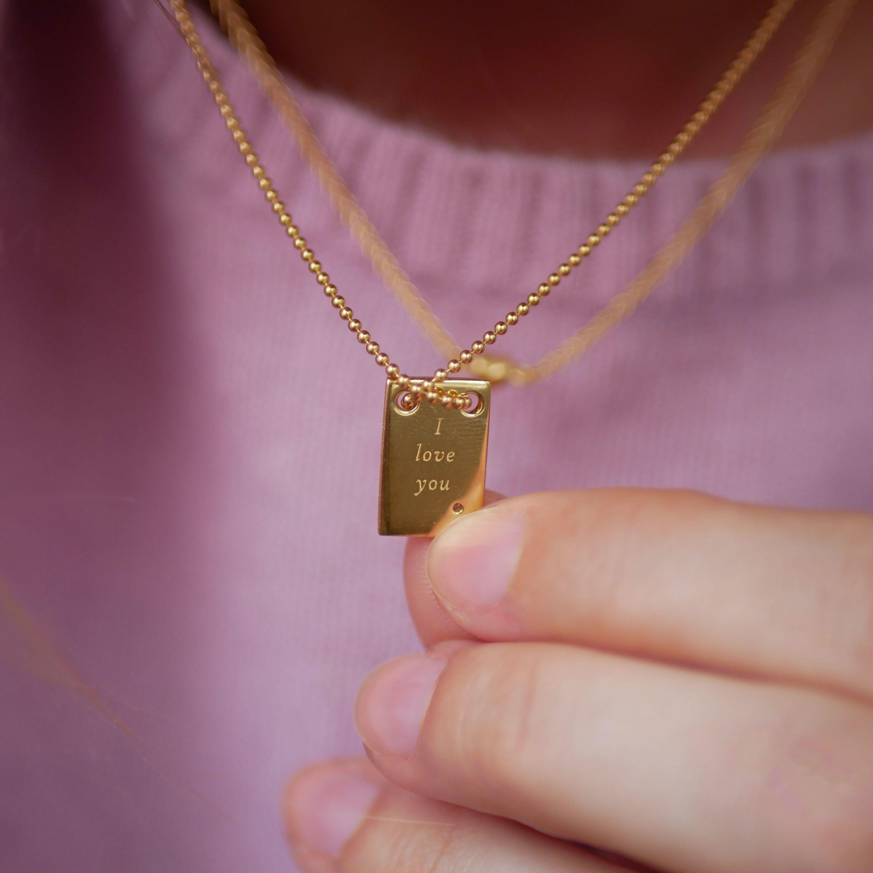 I Love You necklace fra Enamel Copenhagen i Forgylt-Sølv Sterling 925| Matt,Blank