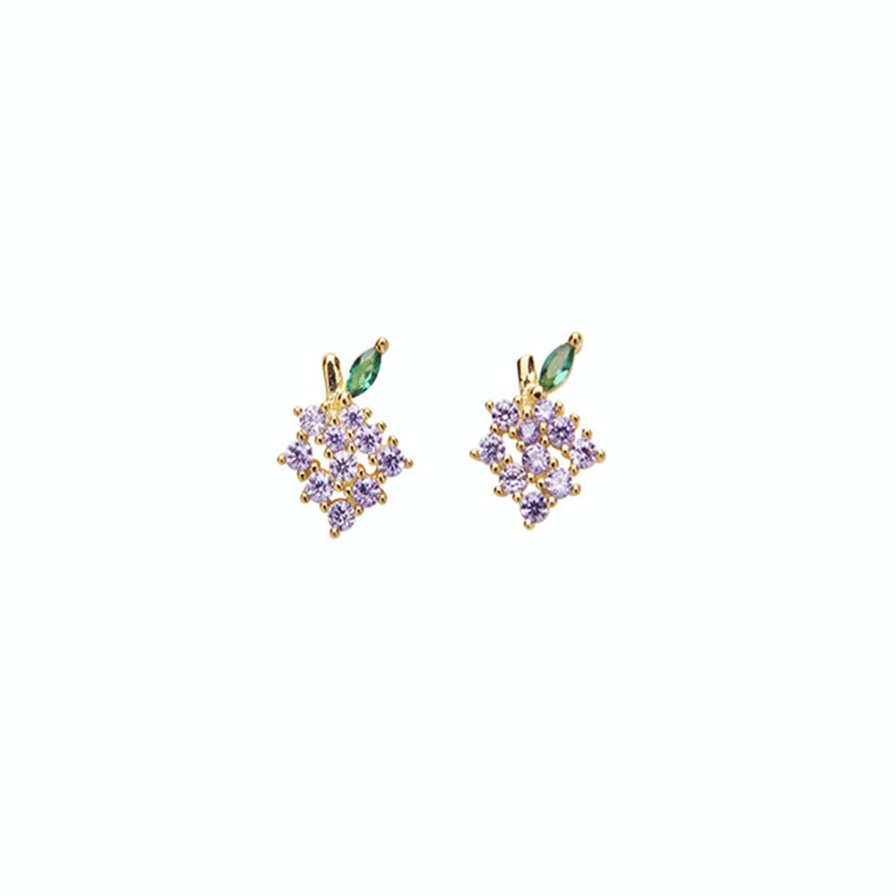 Grapes Crystal Earsticks fra Pico i Forgylt-Sølv Sterling 925