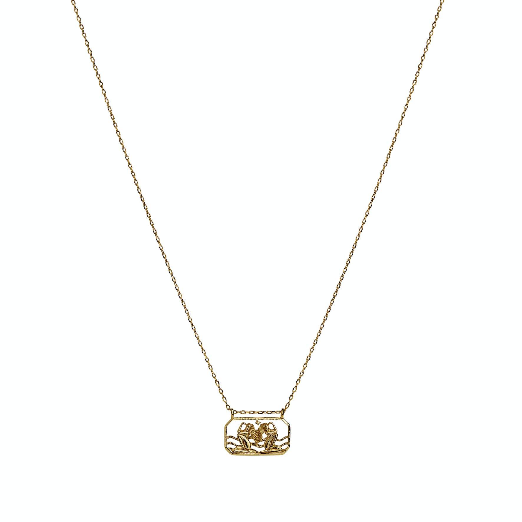 Zodiac Gemini Necklace (May 22 - June 21) von Maanesten in Vergoldet-Silber Sterling 925