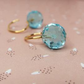 Marble earrings aqua