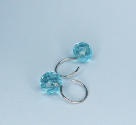 Marble earrings aqua