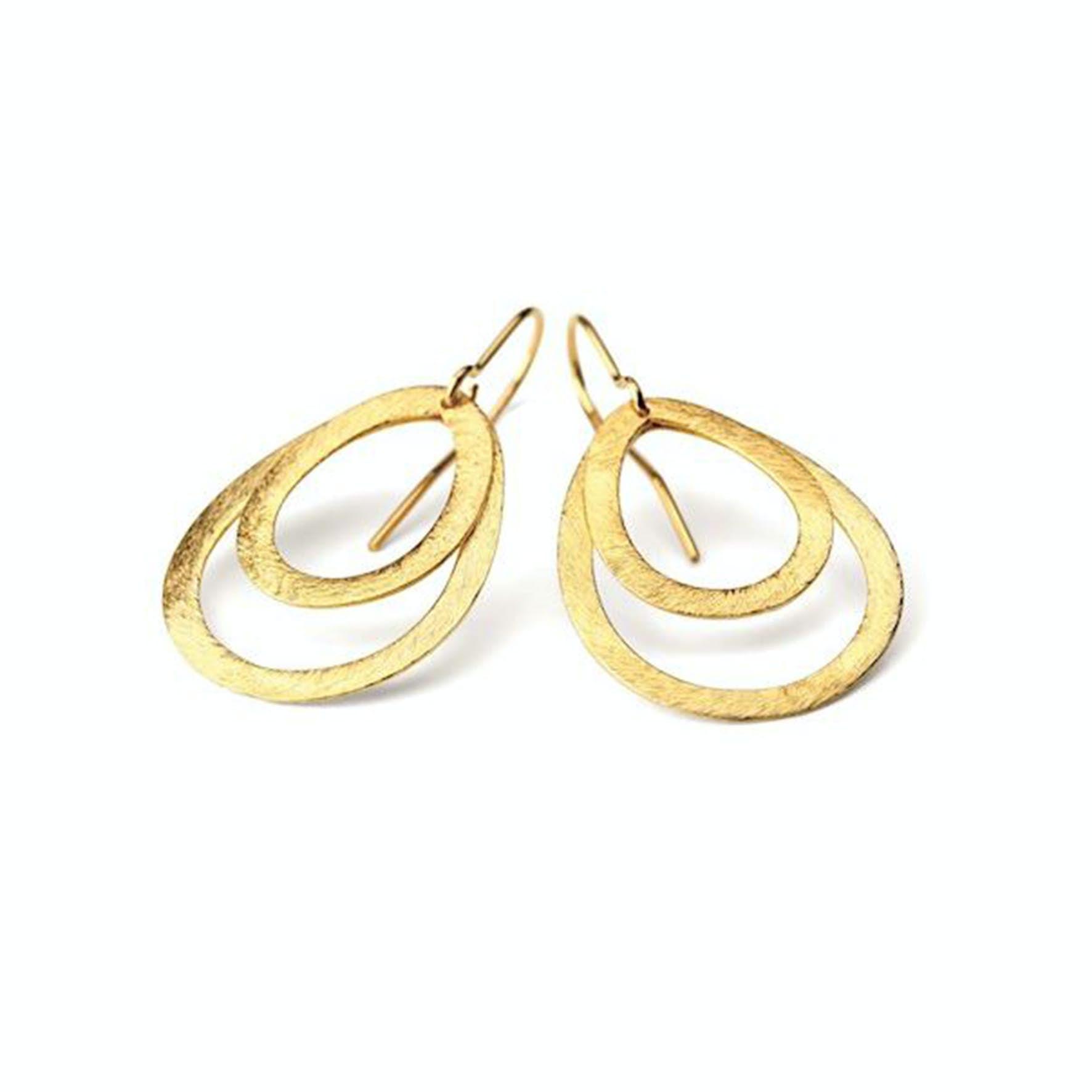 Small double drop earring von Pernille Corydon in Vergoldet-Silber Sterling 925| ,Blank