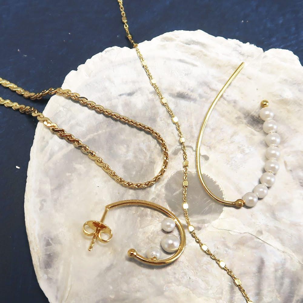 Dashing White earrings von Sistie in Vergoldet-Silber Sterling 925