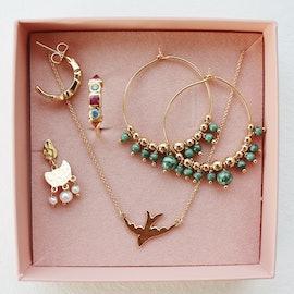 Globe creol earrings Green