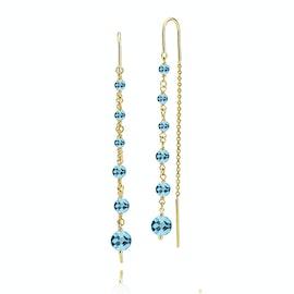 Paradise Earchains Aqua Blue von Izabel Camille in Vergoldet-Silber Sterling 925|Aqua Blue