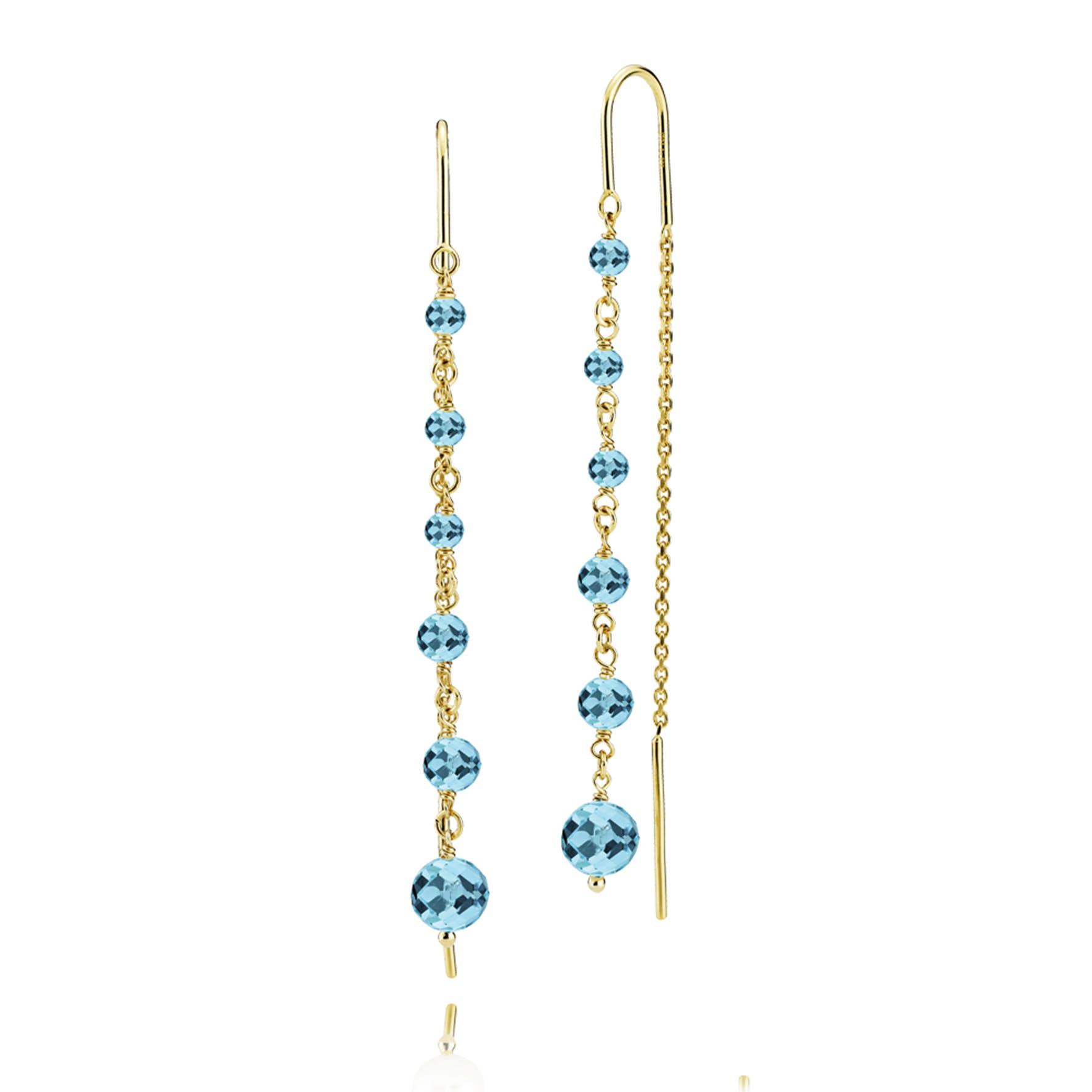 Paradise Earchains Aqua Blue fra Izabel Camille i Forgylt-Sølv Sterling 925|Aqua Blue