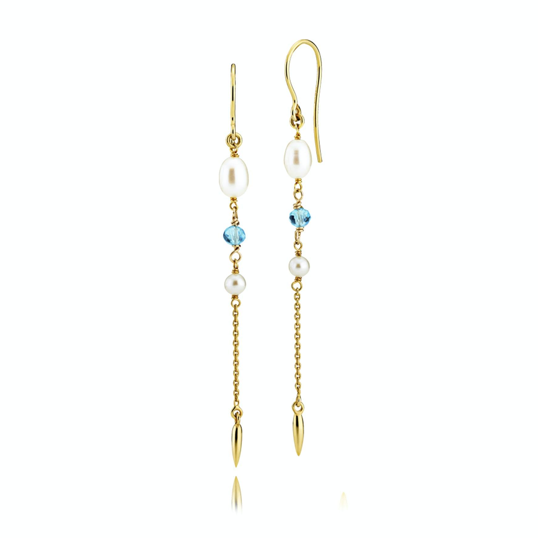 Paradise Earrings Aqua Blue von Izabel Camille in Vergoldet-Silber Sterling 925|Aqua Blue