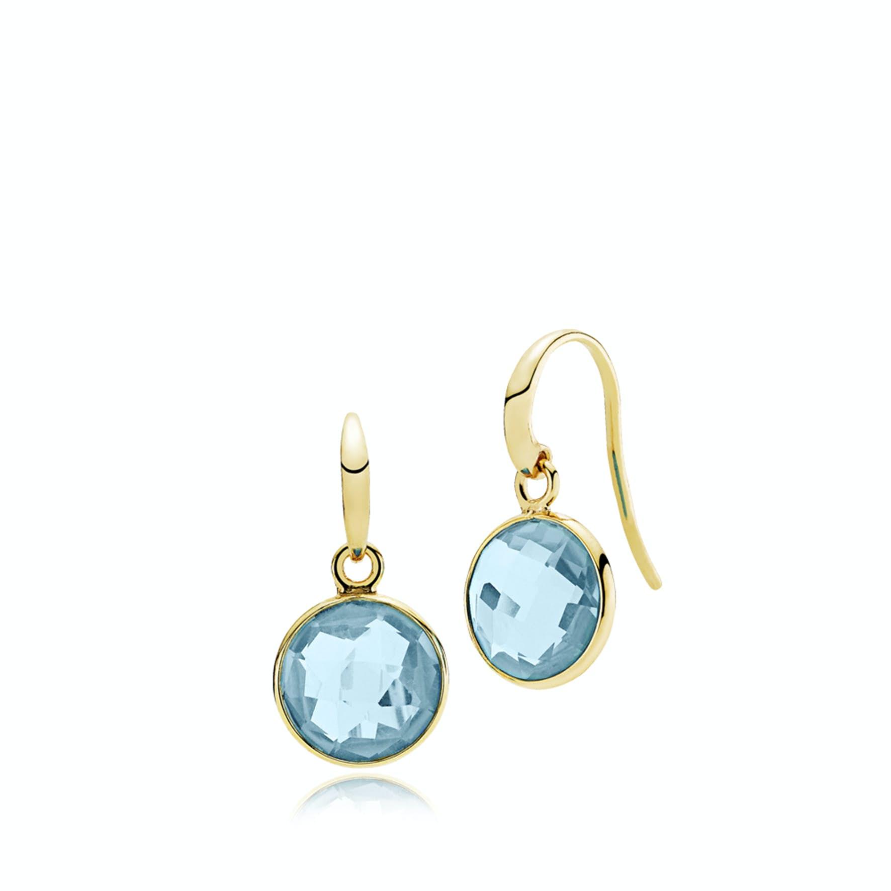 Prima Donna Earrings Aqua Blue from Izabel Camille in Goldplated-Silver Sterling 925 Aqua Blue