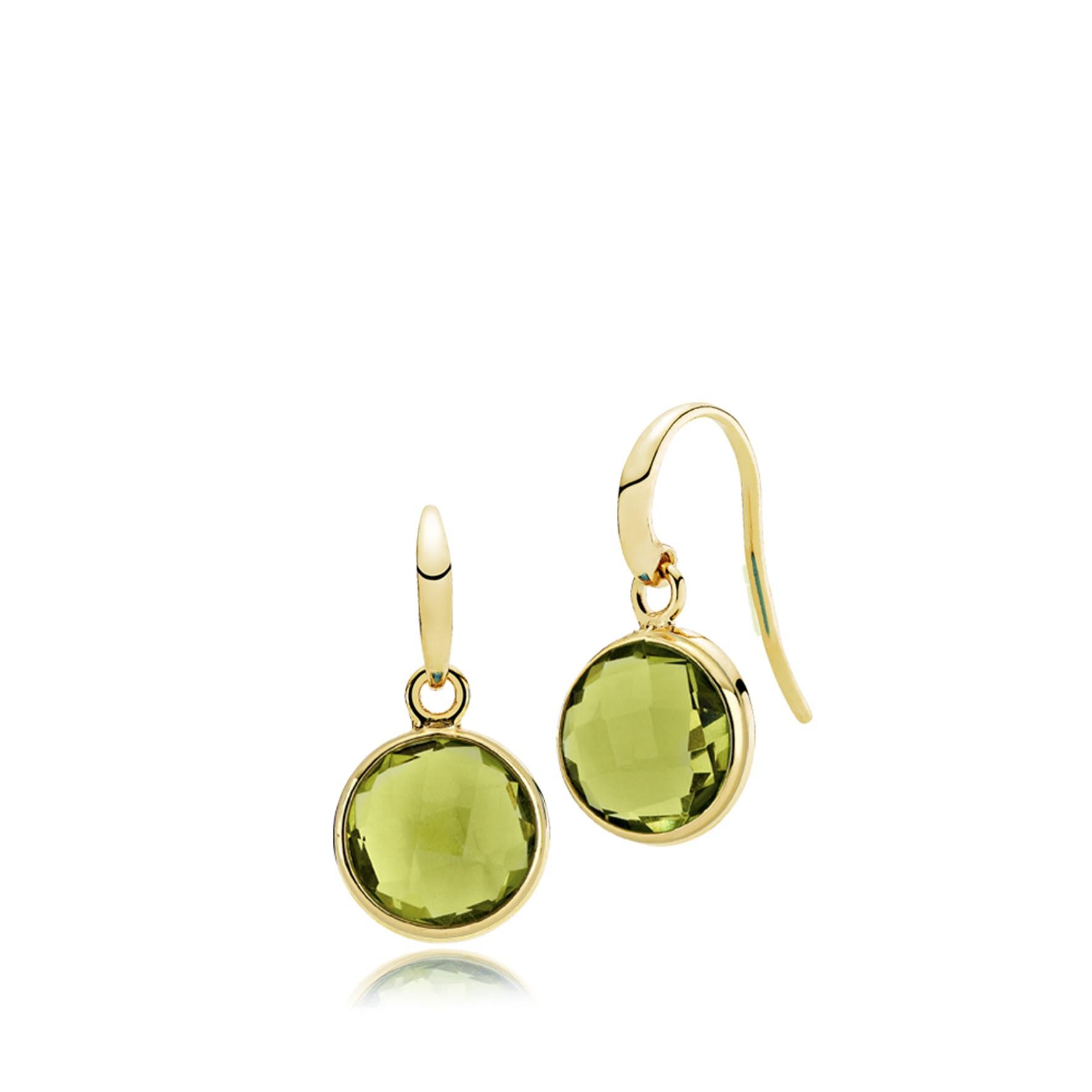 Prima Donna Earrings Peridot Green von Izabel Camille in Vergoldet-Silber Sterling 925 Peridot Green
