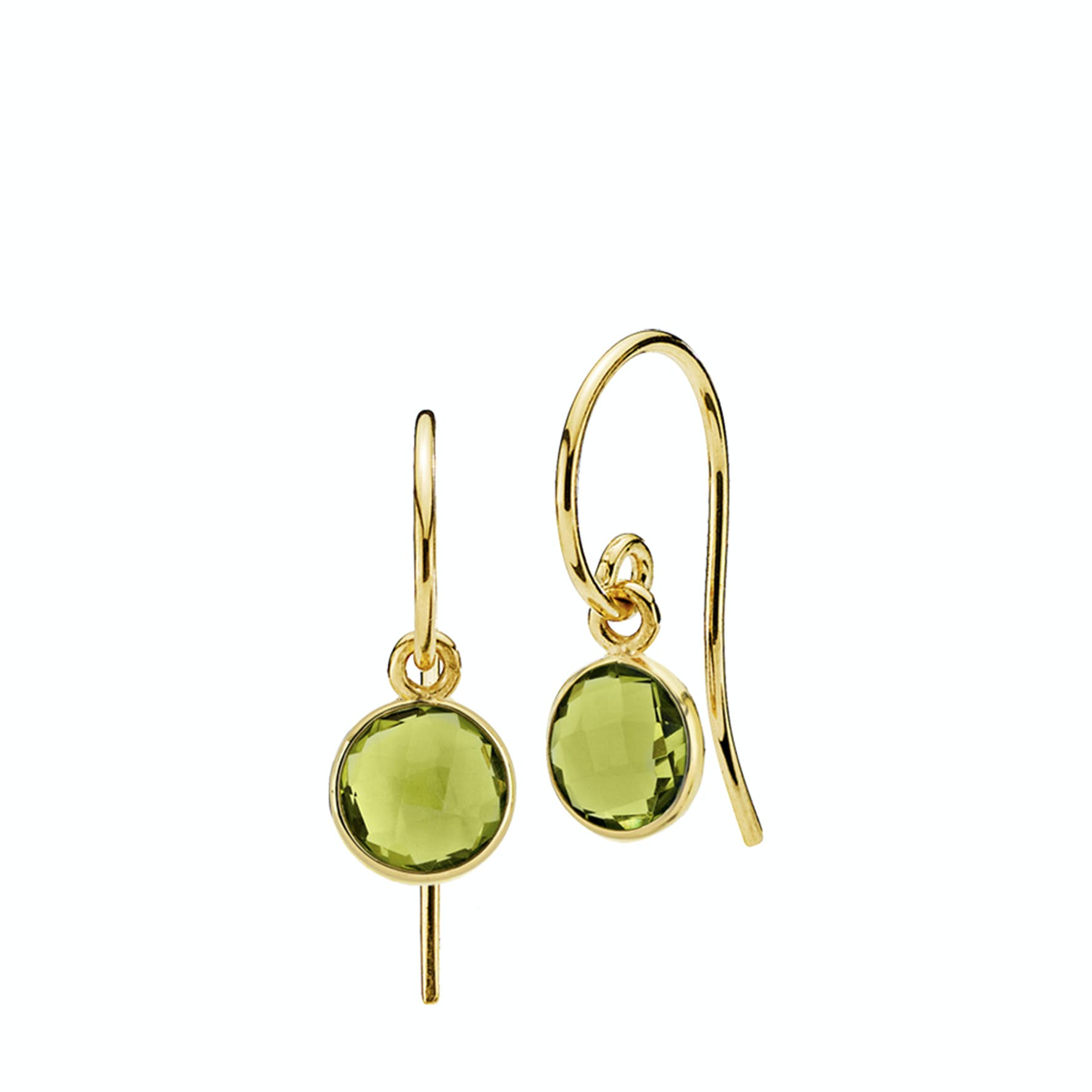 Prima Donna Earrings Small Peridot Green from Izabel Camille in Goldplated-Silver Sterling 925|Peridot Green