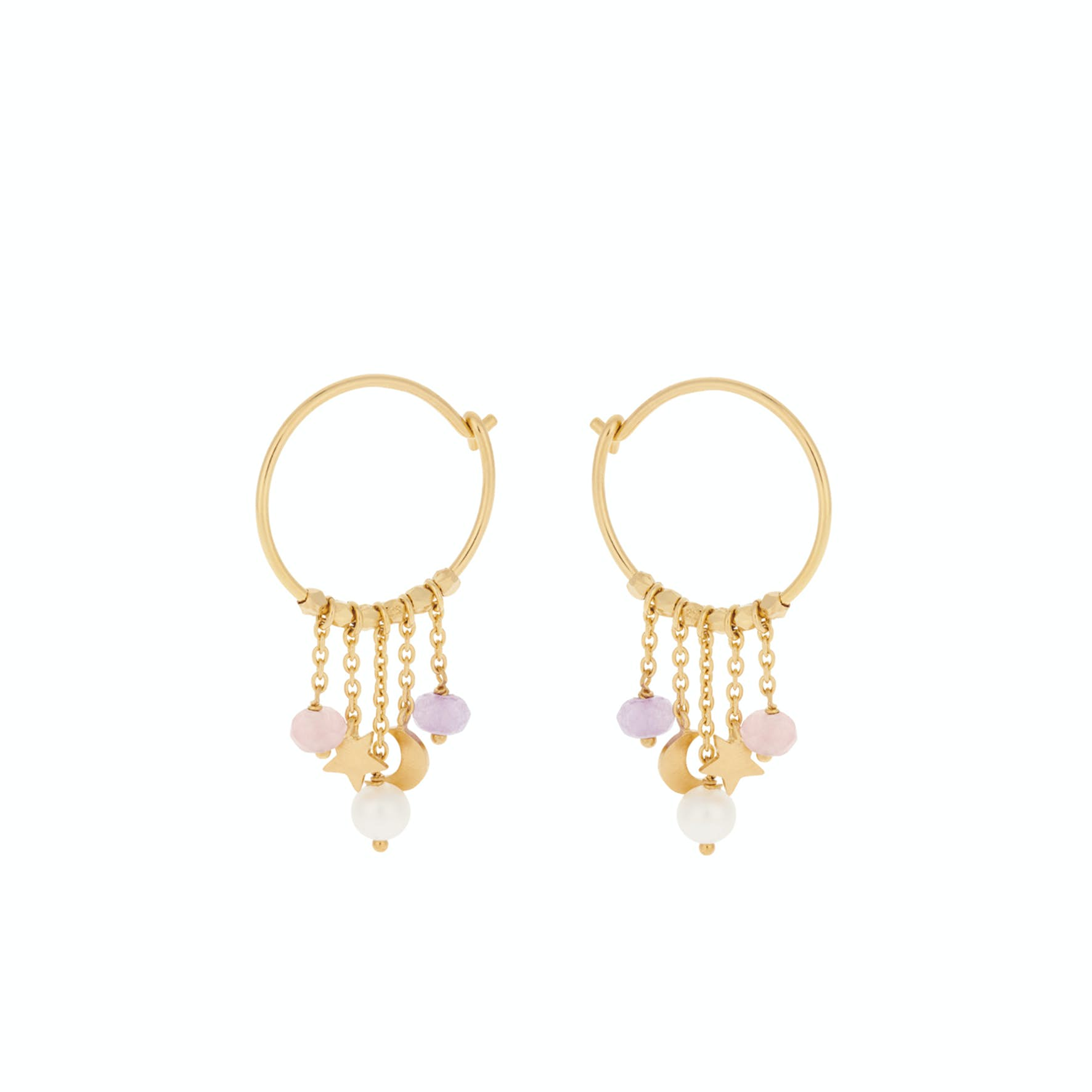 Pastel Dream Hoops from Pernille Corydon in Goldplated-Silver Sterling 925| Freshwater Pearl, Purple Agate,Pink Agate