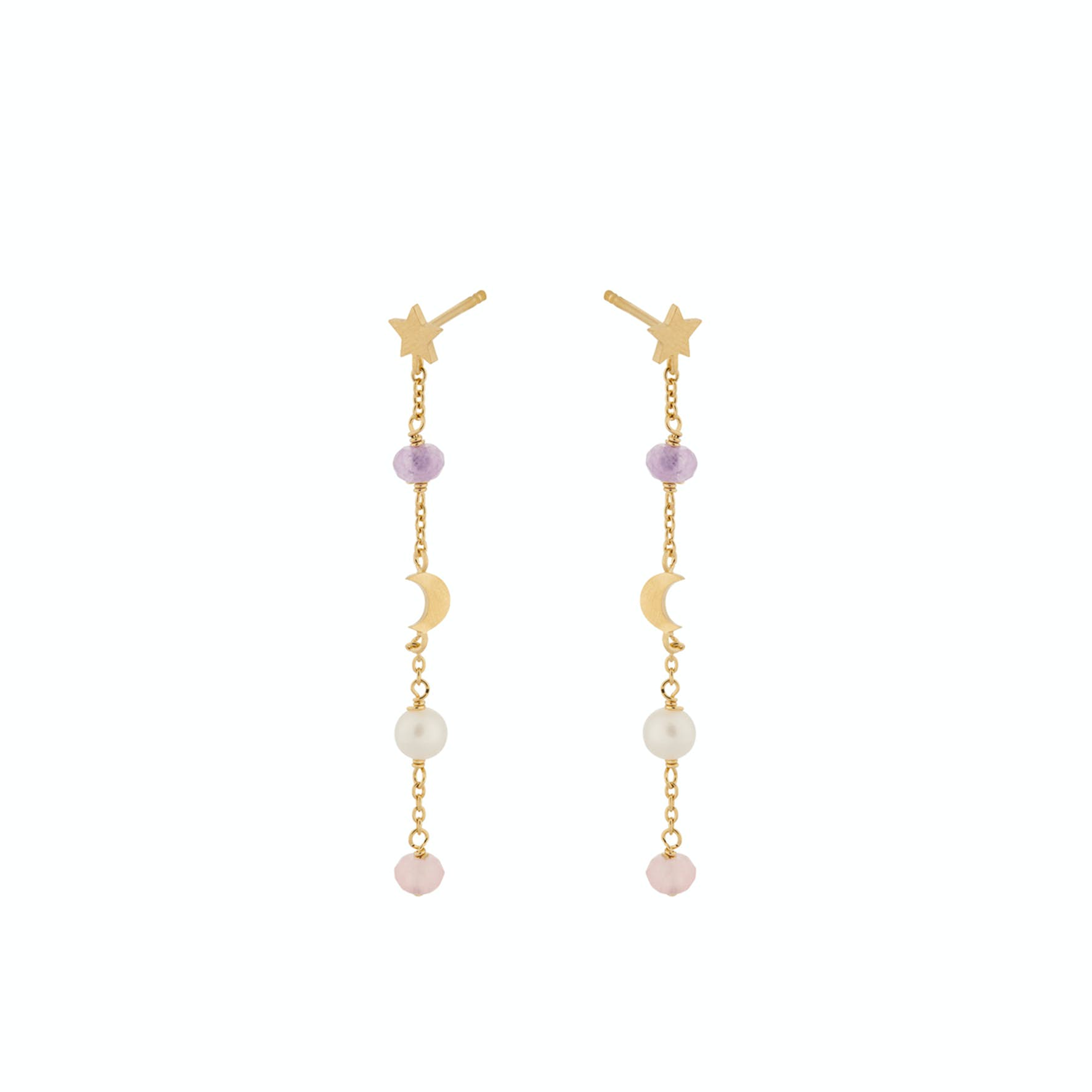 Pastel Dream Earchains from Pernille Corydon in Goldplated-Silver Sterling 925| Freshwater Pearl, Purple Agate,Pink Agate