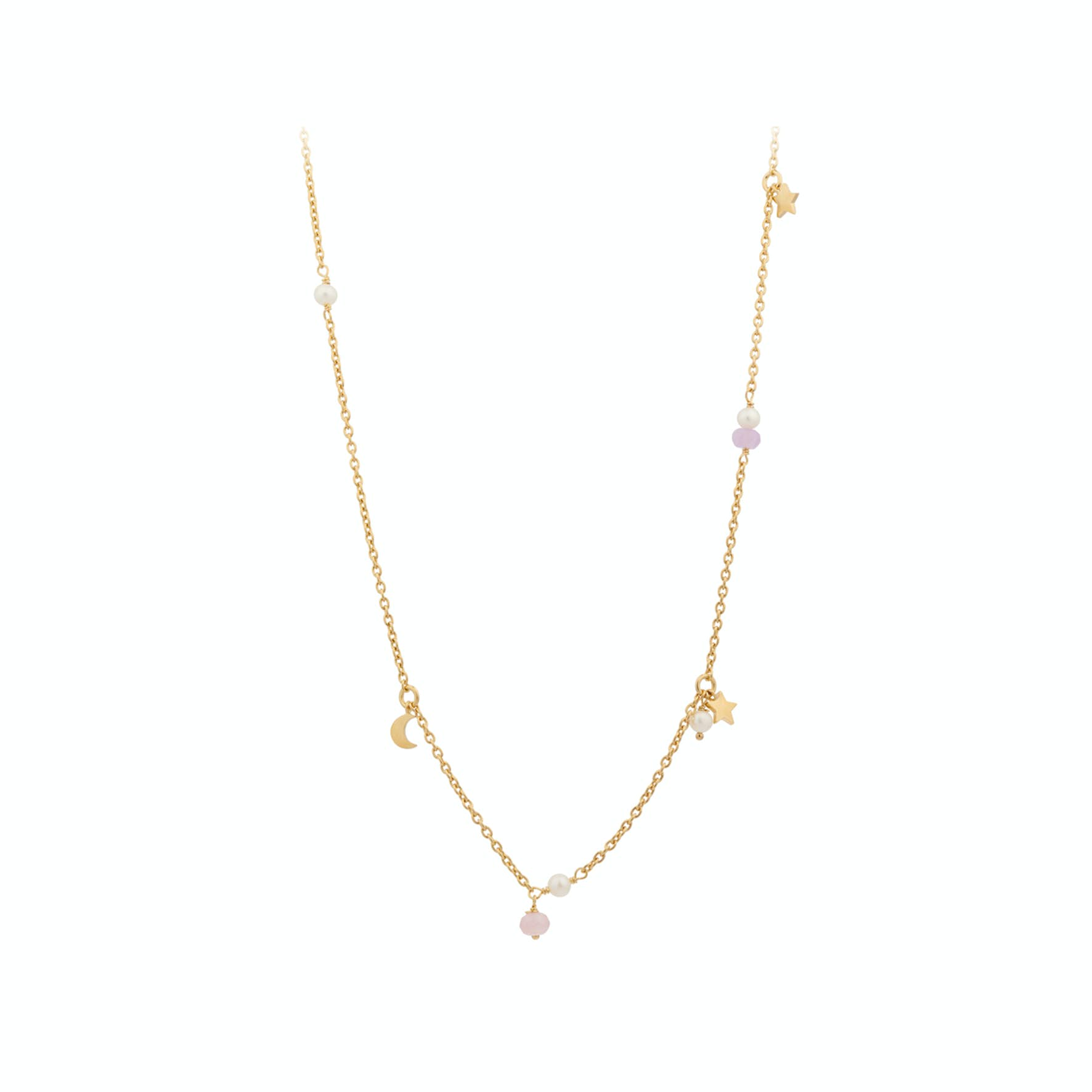 Pastel Dream Necklace from Pernille Corydon in Goldplated-Silver Sterling 925  Pink Agate, Purple Agate,Freshwater Pearl