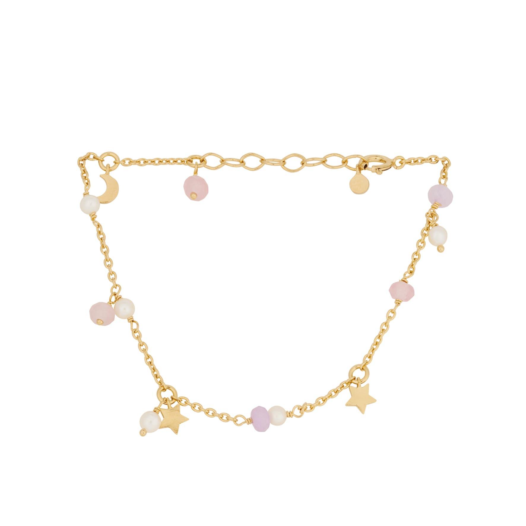 Pastel Dream Bracelet von Pernille Corydon in Vergoldet-Silber Sterling 925| Pink Agate, Purple Agate,Freshwater Pearl