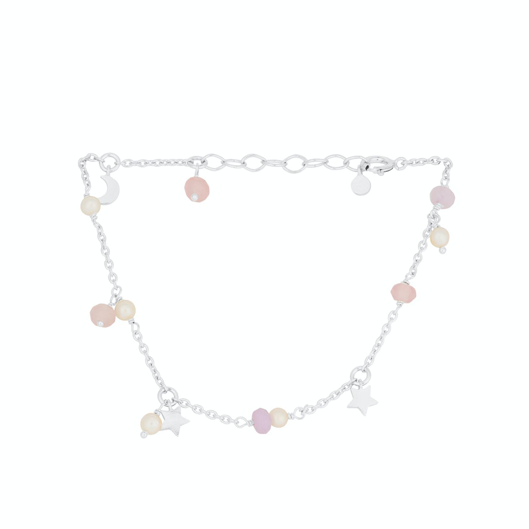 Pastel Dream Bracelet from Pernille Corydon in Silver Sterling 925  Pink Agate, Purple Agate,Freshwater Pearl