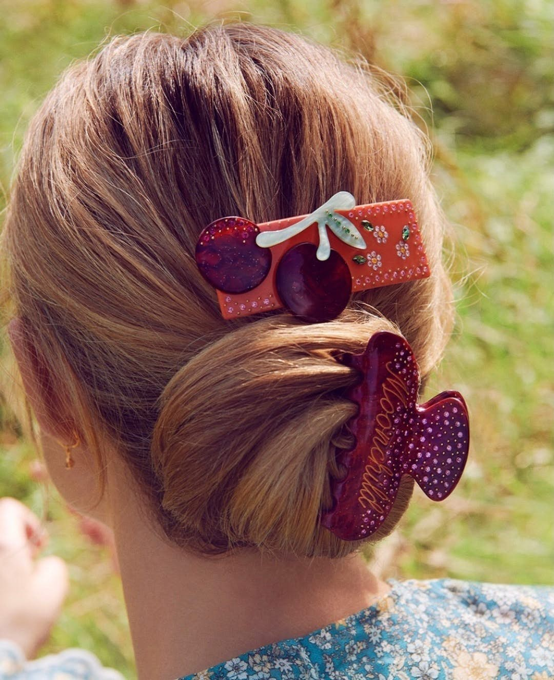 Cherry Hairclip Dark Red