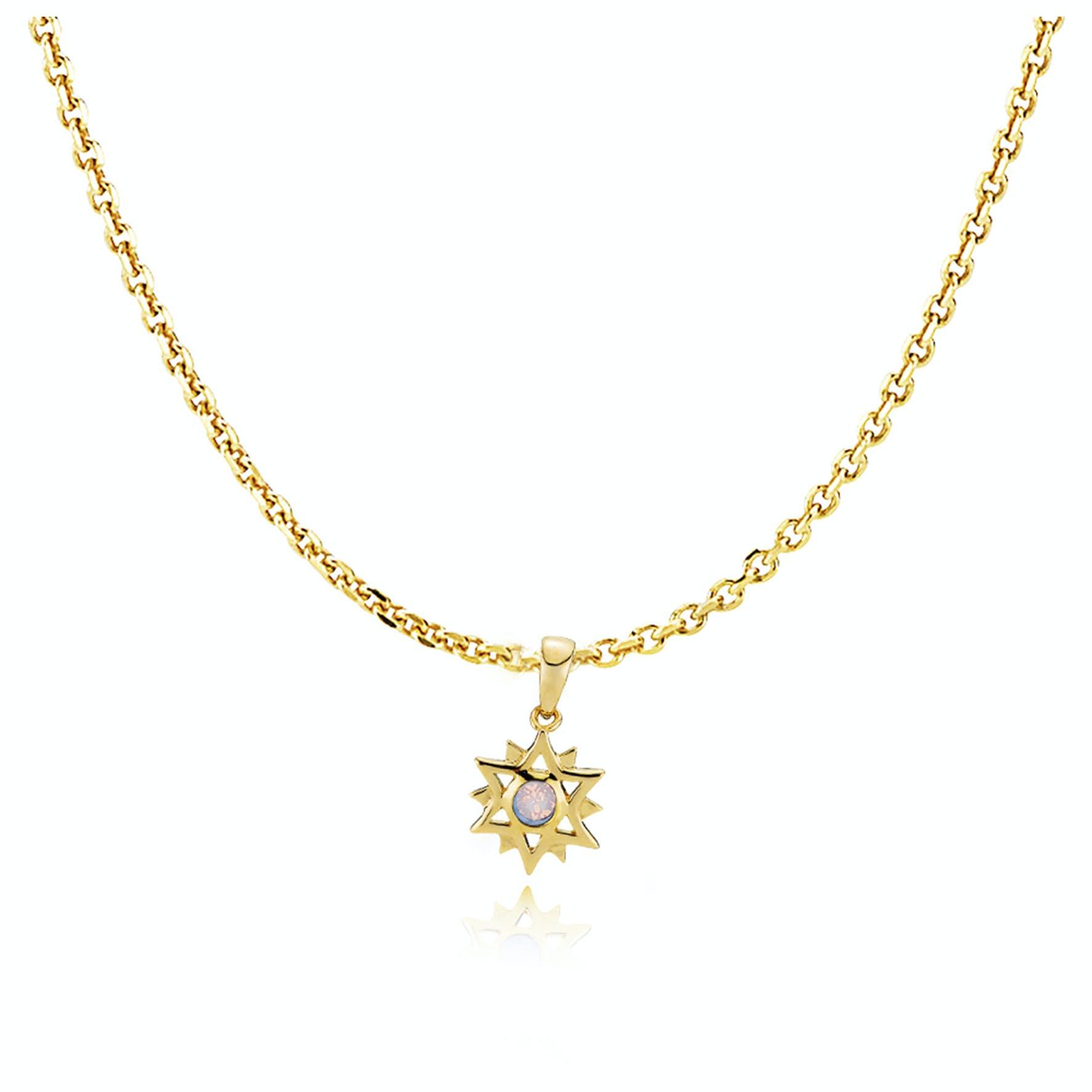 Olivia By Sistie Pendant Necklace Rose Opal fra Sistie i Forgylt-Sølv Sterling 925