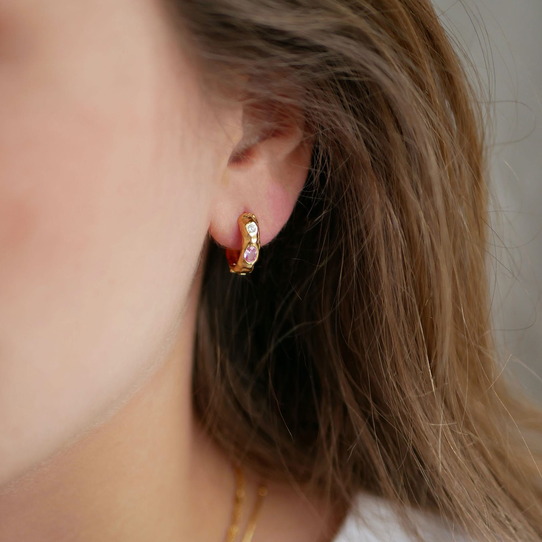 Leonora Pink Hoops fra Enamel Copenhagen i Forgyldt-Sølv Sterling 925