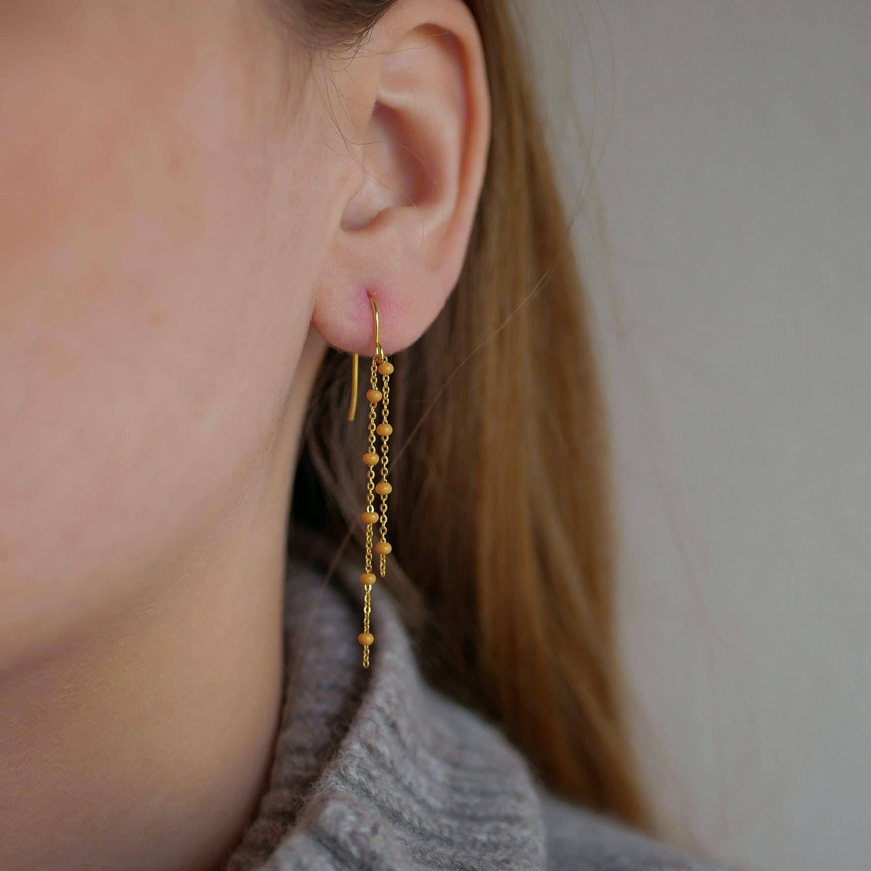 Fura Earrings Orange fra Enamel Copenhagen i Forgyldt-Sølv Sterling 925