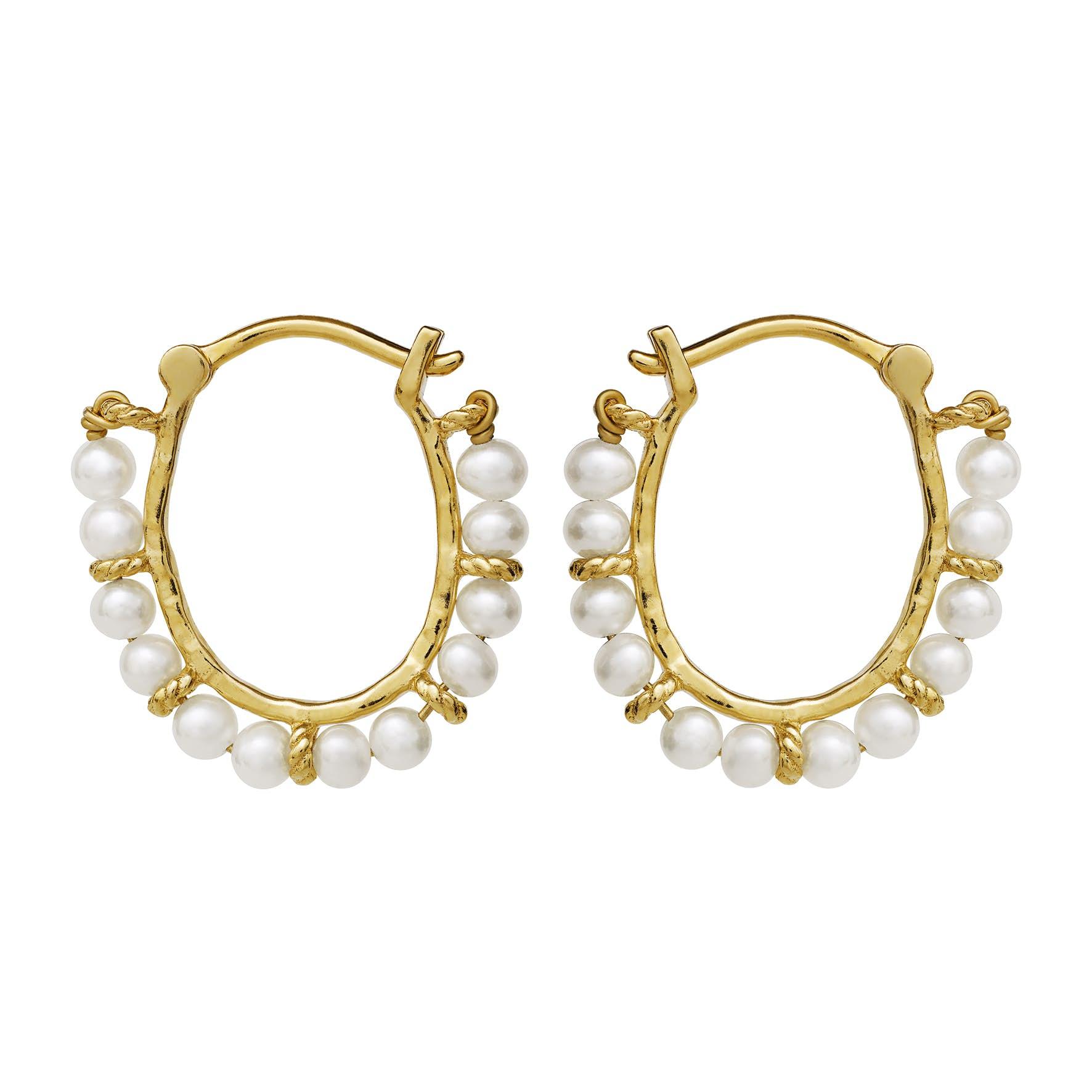 Phile Earrings von Maanesten in Vergoldet-Silber Sterling 925 Freshwater Pearl Blank