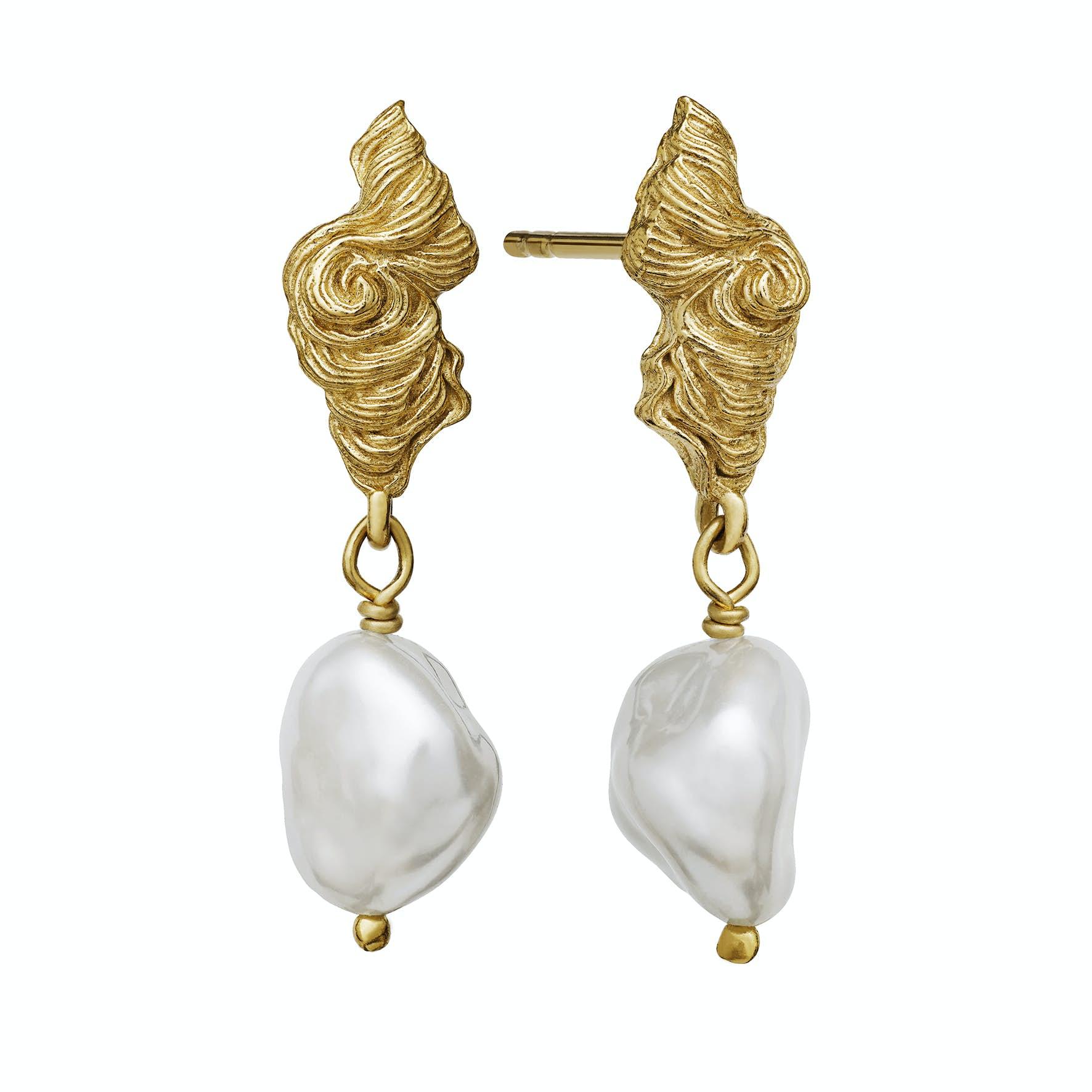 Frigg Earrings fra Maanesten i Forgyldt-Sølv Sterling 925|Freshwater Pearl