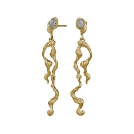 Idun Earrings from Maanesten in Goldplated-Silver Sterling 925|Akvamarin