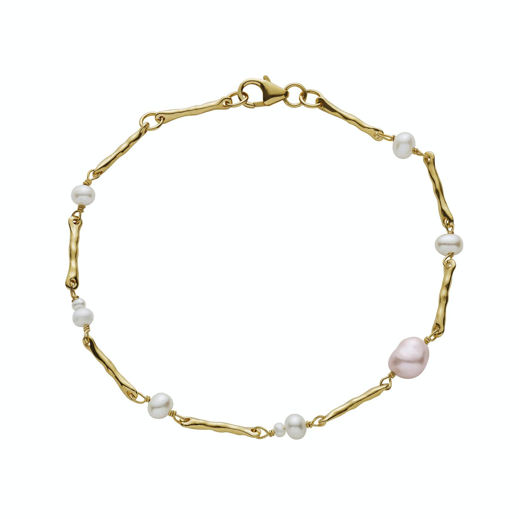 Kadri Bracelet von Maanesten in Vergoldet-Silber Sterling 925|Freshwater Pearl|