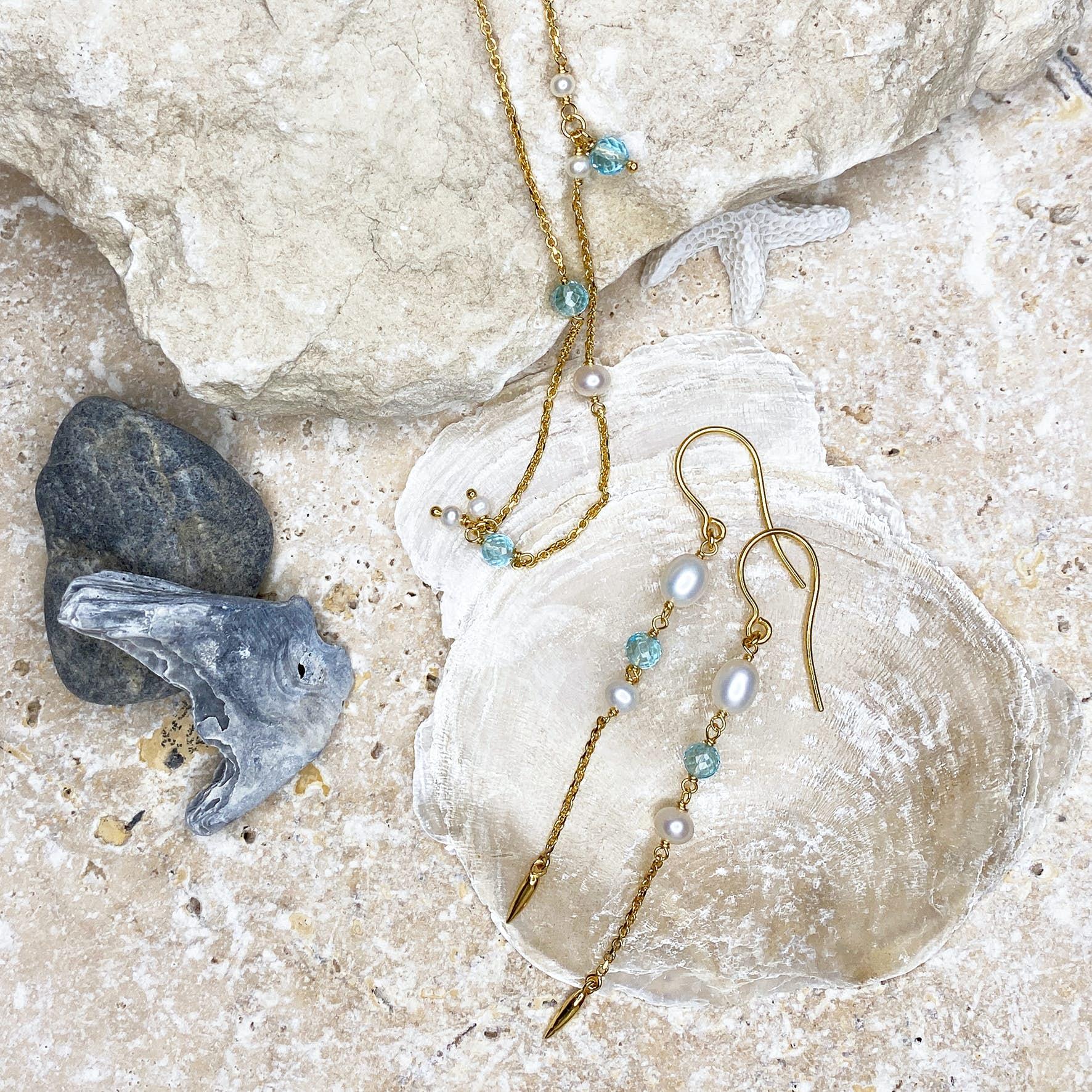 Paradise Necklace fra Izabel Camille i Forgylt-Sølv Sterling 925|Aqua Blue