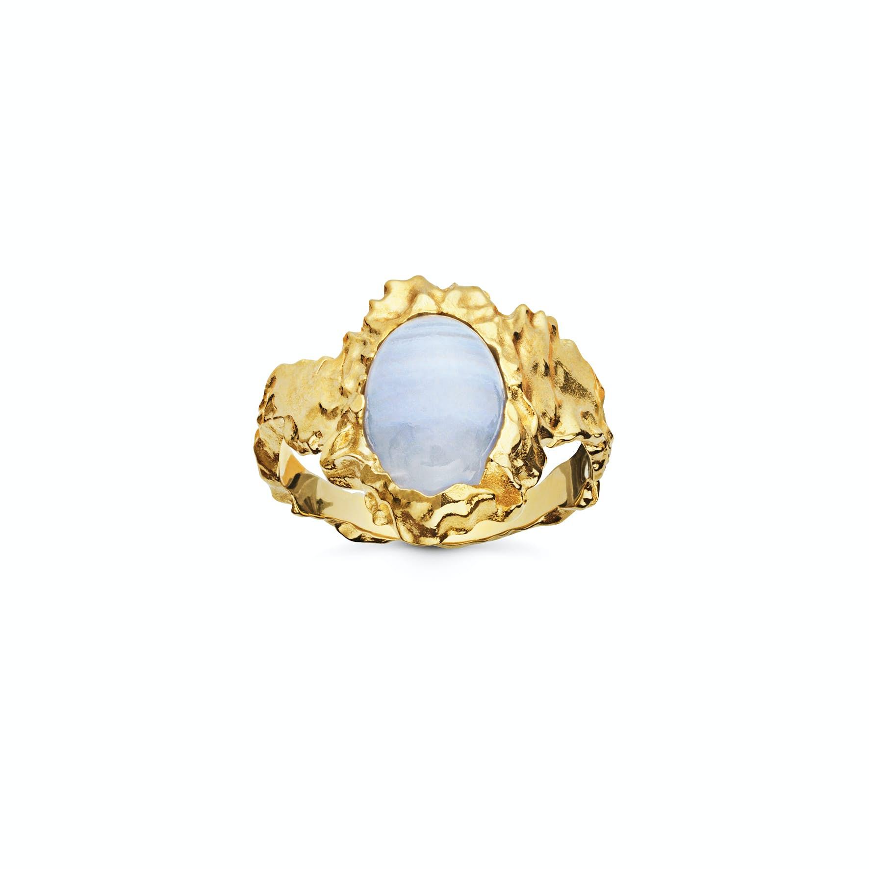 Goddess Ring Blonde Agat fra Maanesten i Forgyldt-Sølv Sterling 925