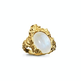 Goddess Ring Moonstone fra Maanesten i Forgylt-Sølv Sterling 925