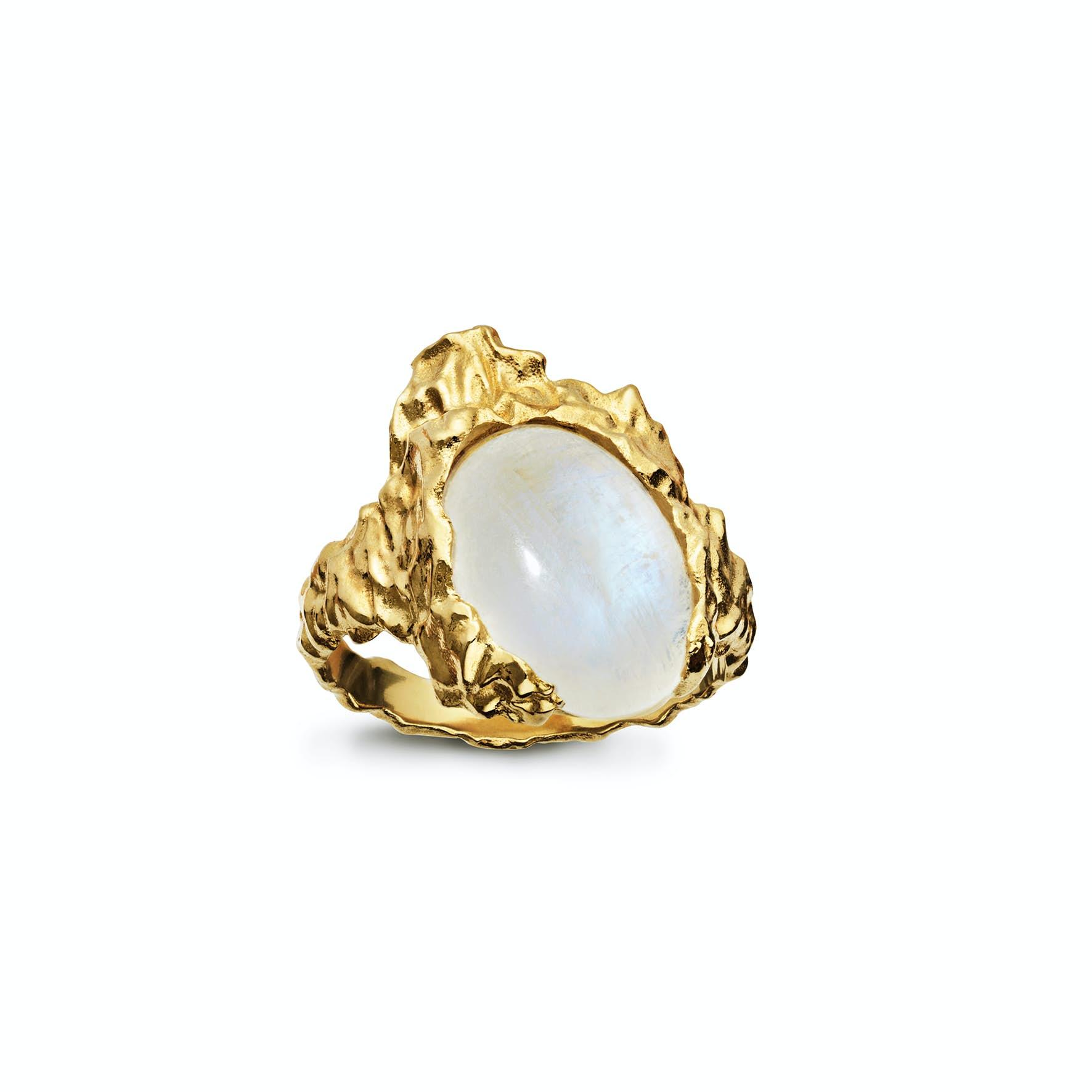 Goddess Ring Moonstone från Maanesten i Förgyllt-Silver Sterling 925