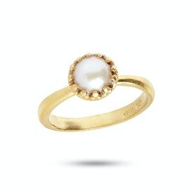 Gilded Marvels Ring Pearl fra Carré i Forgyldt-Sølv Sterling 925|Freshwater Pearl