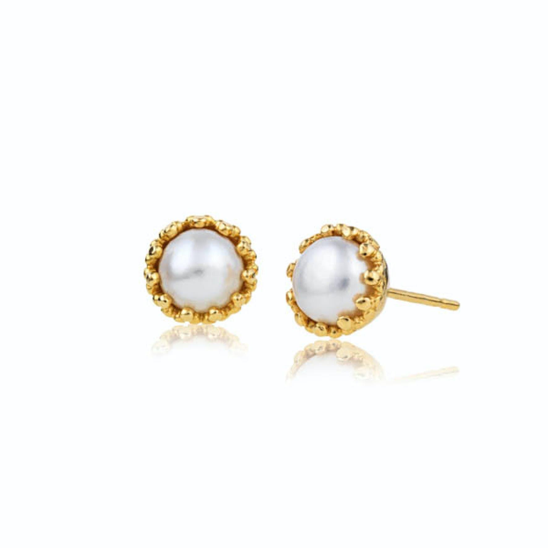 Gilded Marvels Earsticks Pearl från Carré i Förgyllt-Silver Sterling 925|Freshwater Pearl