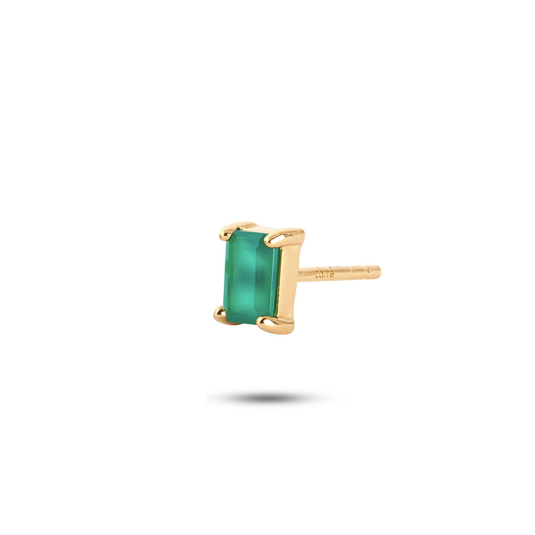 Gem Candy Earstick Confidence fra Carré i Forgyldt-Sølv Sterling 925|Green Agat|Blank