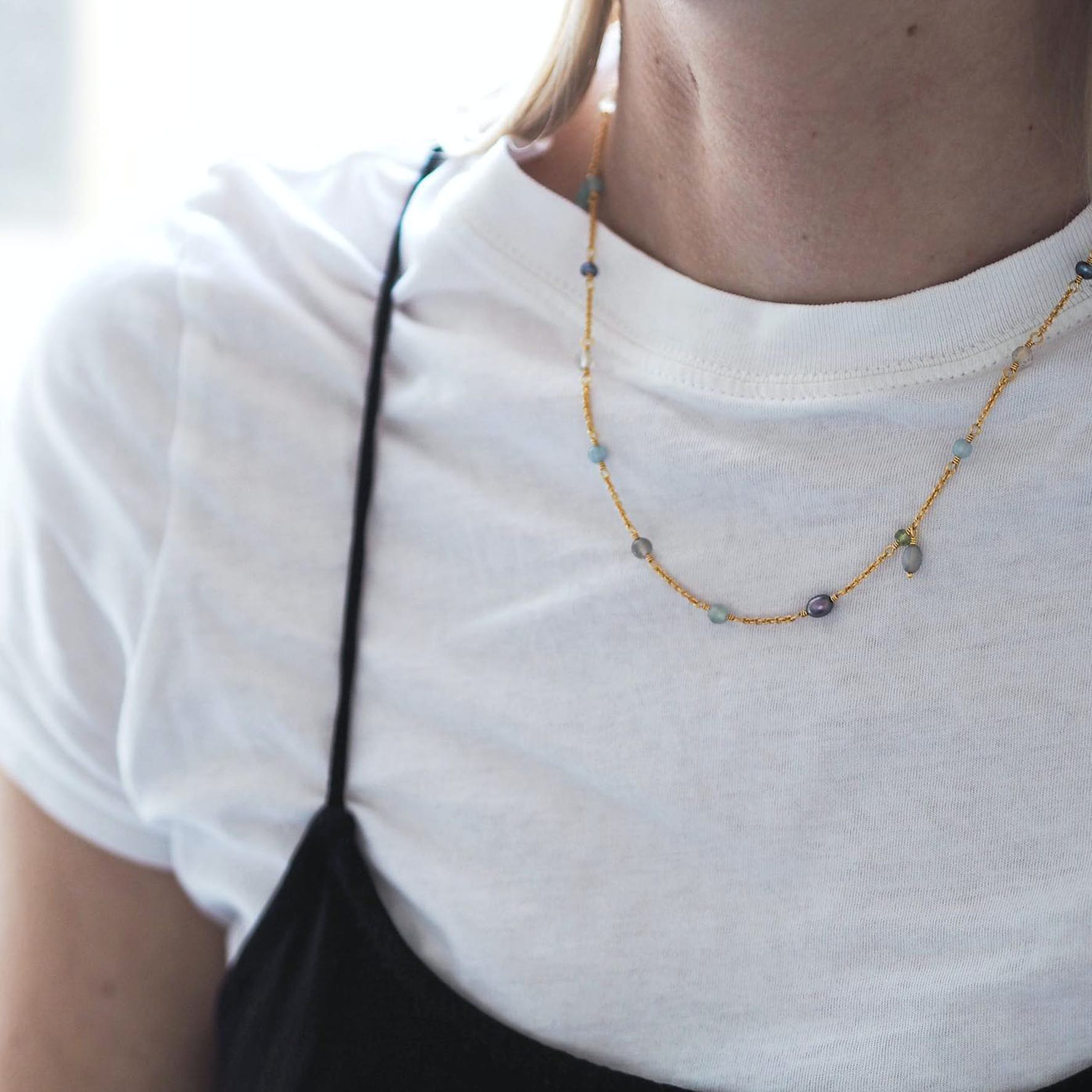 Gem Candy Necklace Aqua